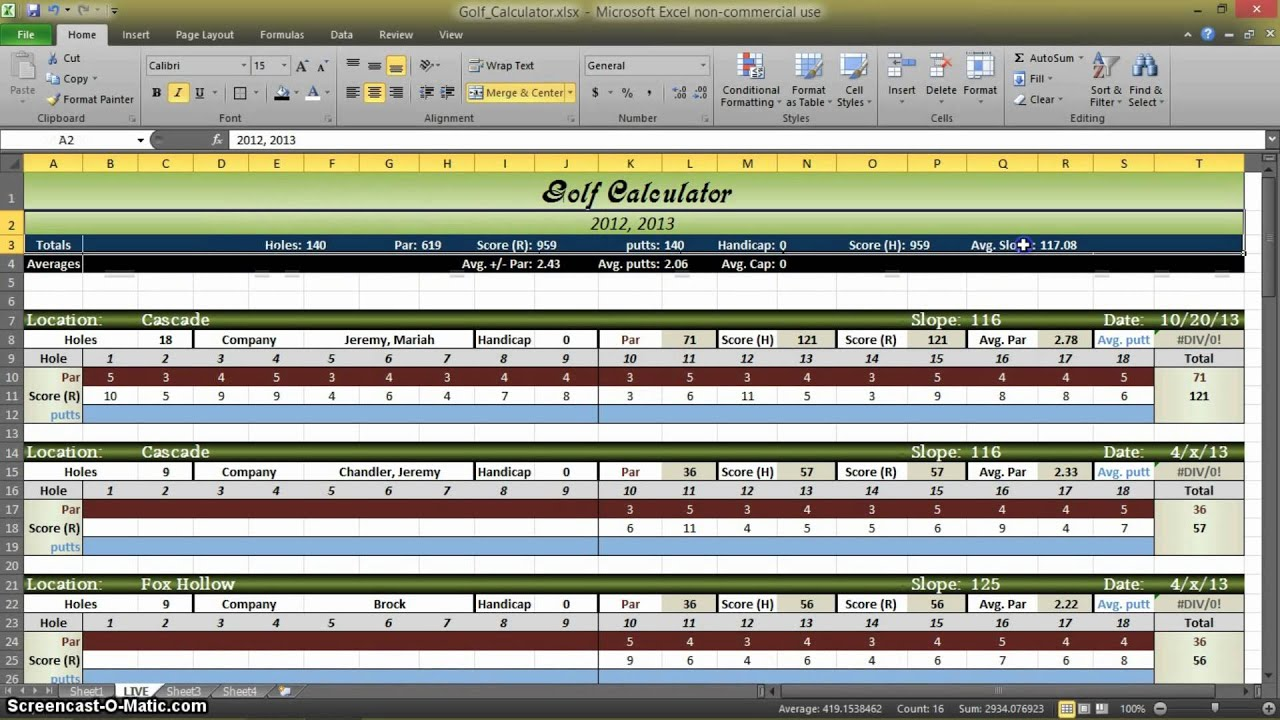 Golf Statistics Calculator In Excel Part 1 Youtube