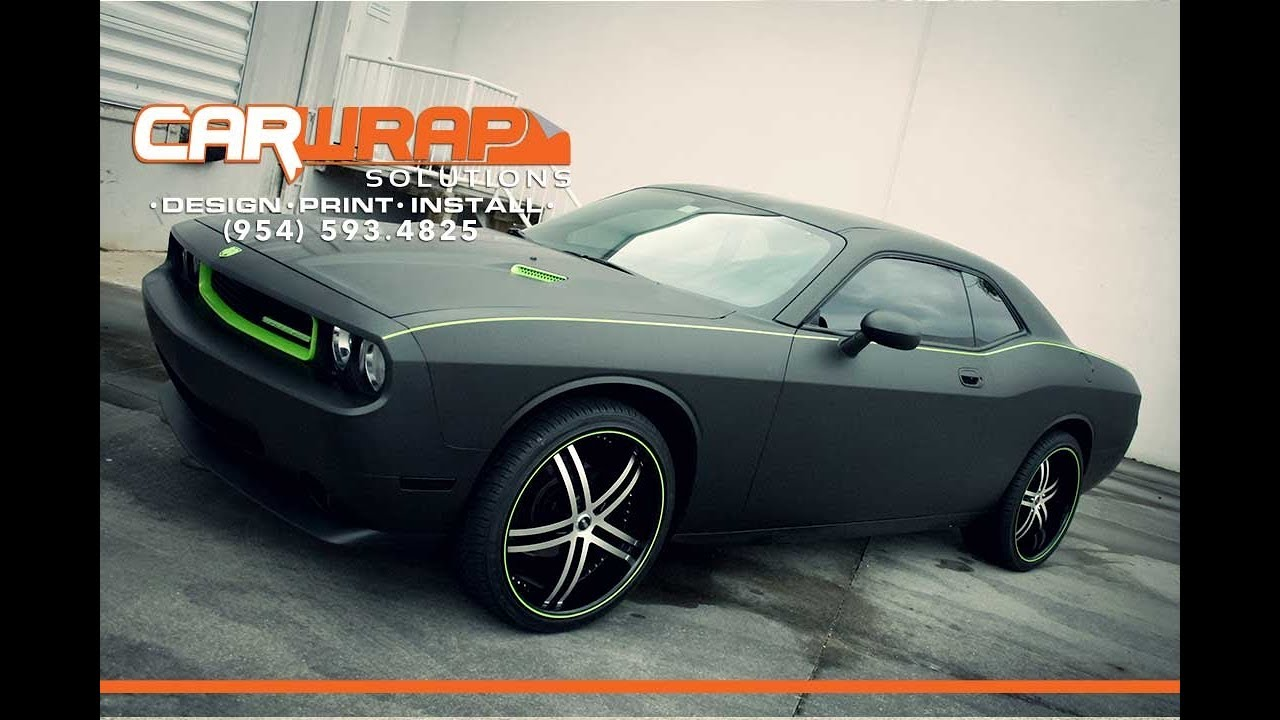 Dodge Challenger 3m Matte Black Car Wrap Racing Stripes Miami Fort