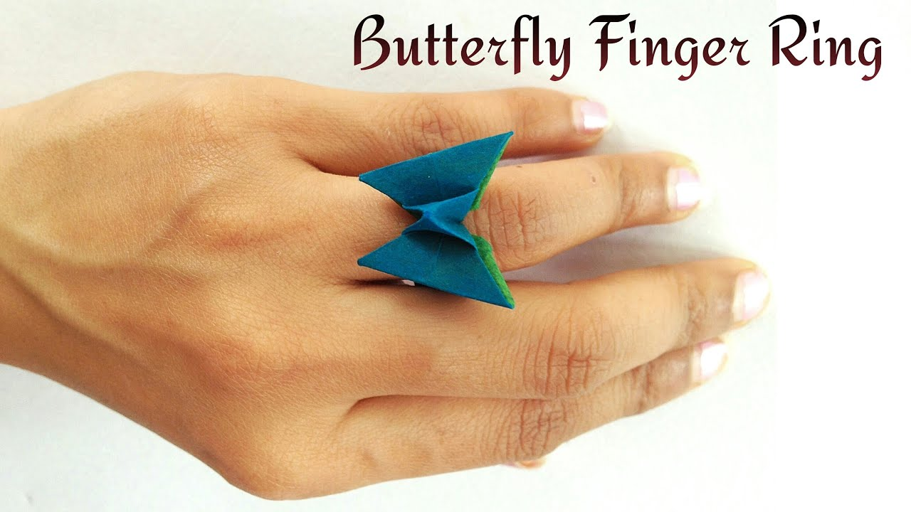 How to make a paper butterfly finger ring origami how to make a paper butterfly finger ring origami tutorial youtube jeuxipadfo Choice Image