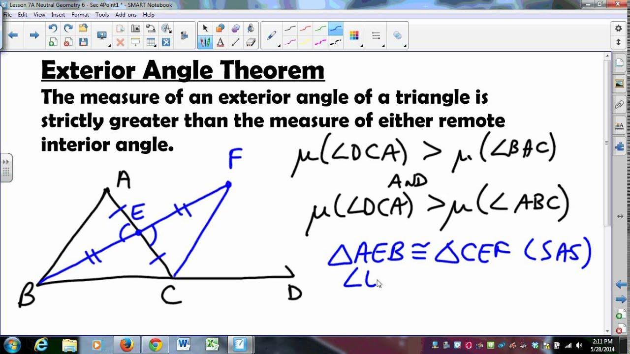 Exterior Math: MATH335 SUNYGeneseo Neutral Geometry 7 Exterior Angle Thm
