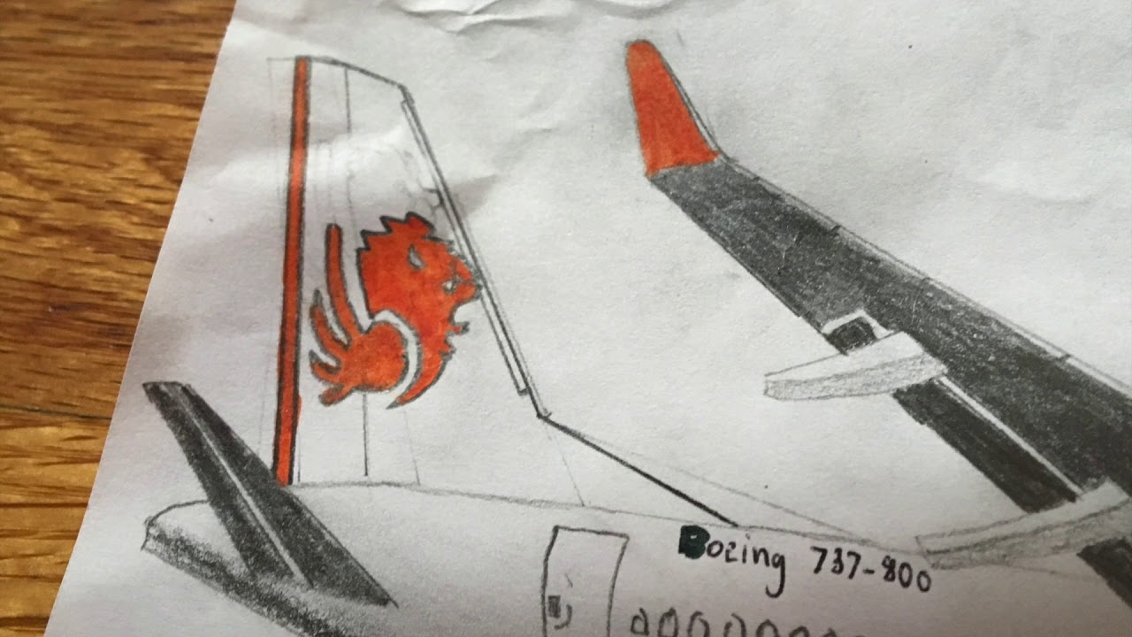 My Realistic Aircraft Drawing Lion Air Boeing 737 800 Youtube