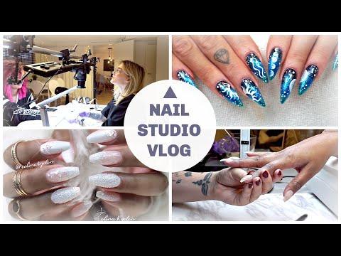 NAIL STUDIO VLOG | WINTER WEDDING BALLERINA NAILS | FILMING A NAIL TUTORIAL | GEL NAIL ART