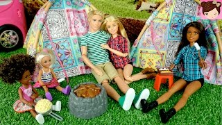 Barbie and Ken go Camping Outdoors with Real Waterfall and Campfire - Stories with Dolls thumbnail