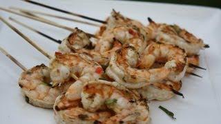 Grilled Caribbean Shrimp Skewers.