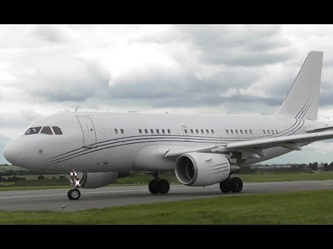 Airbus A319CJ G-NOAH Take Off at Cambridge Airport