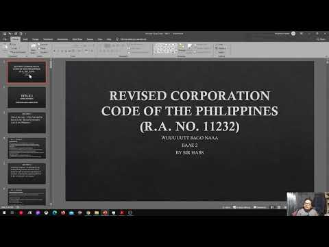 (RA 11232) Revised Corp Code of the PH - TITLE 1 (Part 1)