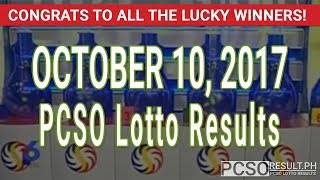 PCSO Lotto Results Today October 10, 2017 (6/58, 6/49, 6/42, 6D, Swertres & EZ2)