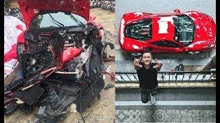 Siêu xe 15 tỷ của Tuấn Hưng thành đống sắt vụn sau khi gặp nạn trên cao tốc