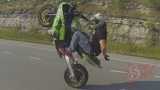 Street Bike STUNTS Long Highway WHEELIES On Extended Swingarm Kawasaki Ninja ZX6R Motorcycle WHEELIE
