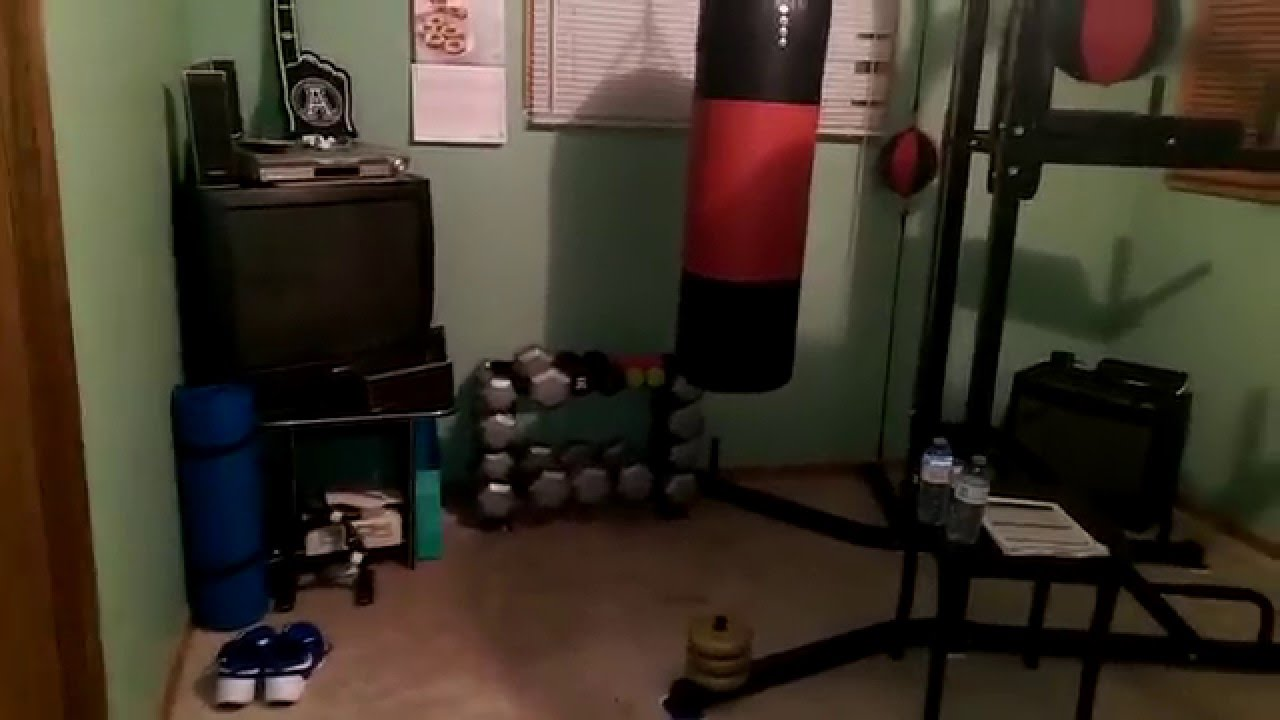 Bedroom gym - am staff power rack and boxing - YouTube