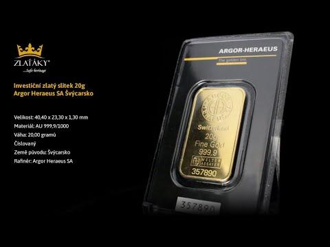 20g Argor Heraeus SA Švýcarsko Investiční zlatý slitek