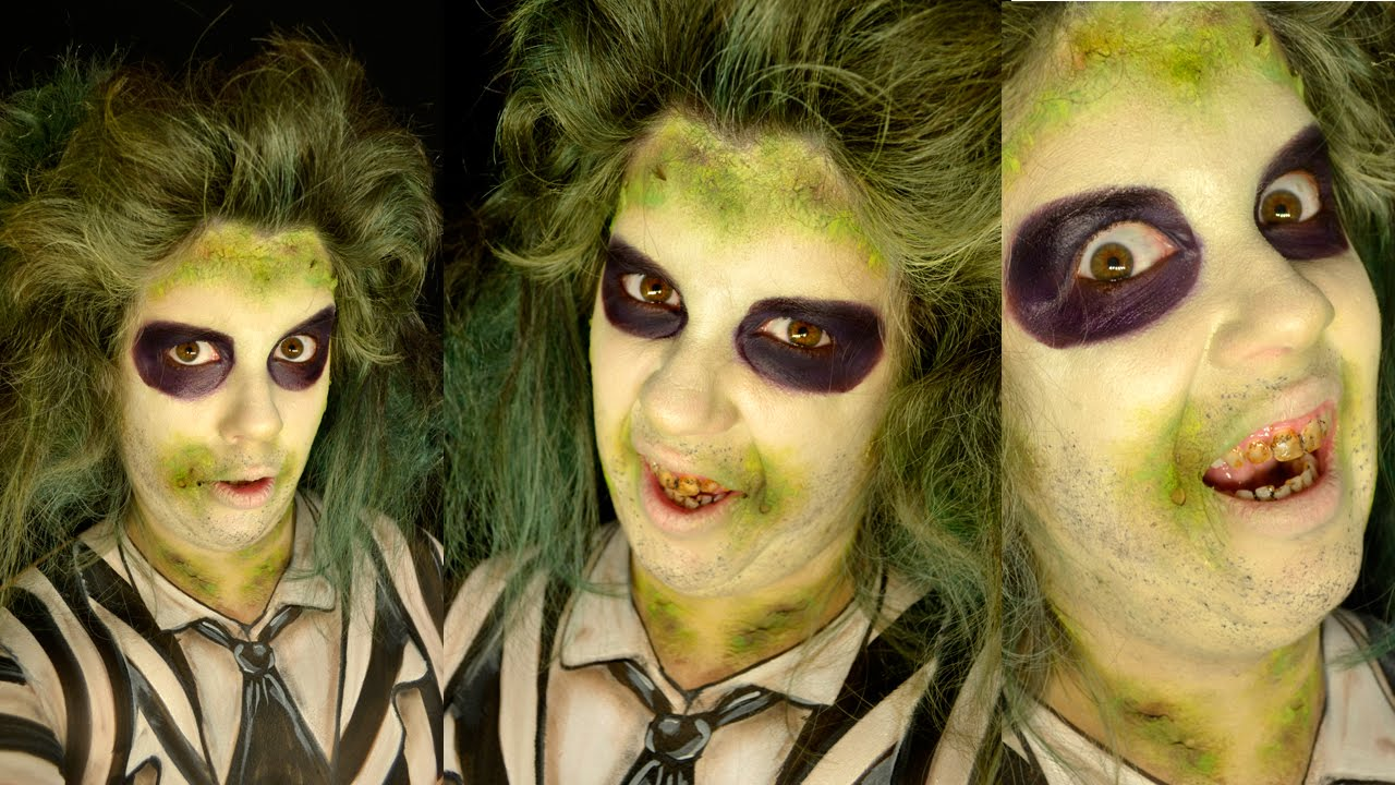 BEETLEJUICE : : HALLOWEEN MAKEUP TUTORIAL : BEETLE-JUICE : EASY MAKE ...