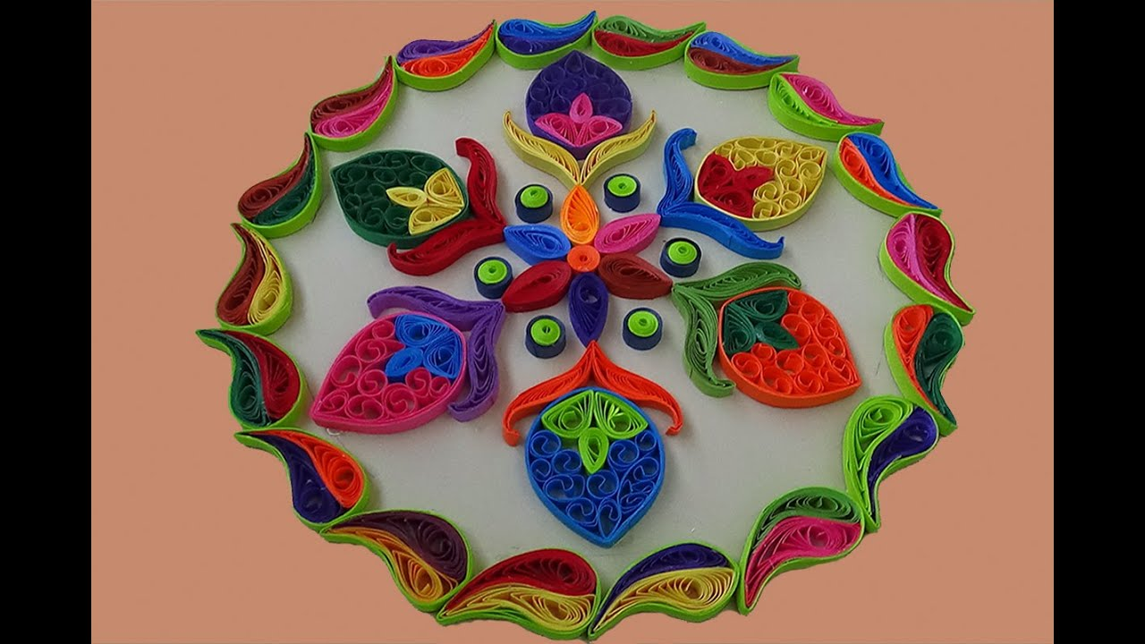 Paper quilling simple and easy rangoli designs for for Simple paper quilling designs
