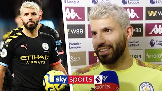 Sergio Aguero reacts to becoming the Premier League's all-time top overseas goalscorer ⚽
