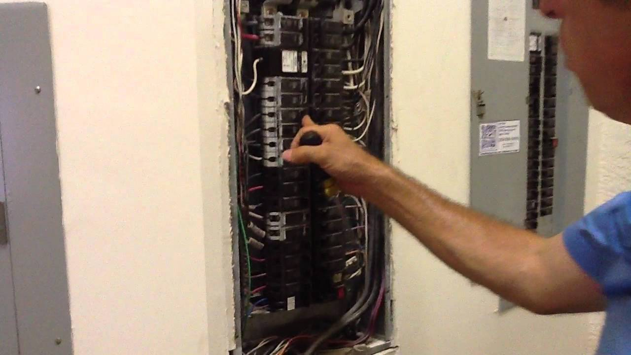 removing and changing out breaker from ge electrical panel box [ 1280 x 720 Pixel ]