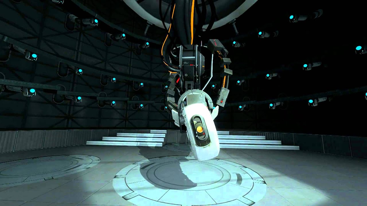 Glados from Portal 2, the 'evil' character in this game