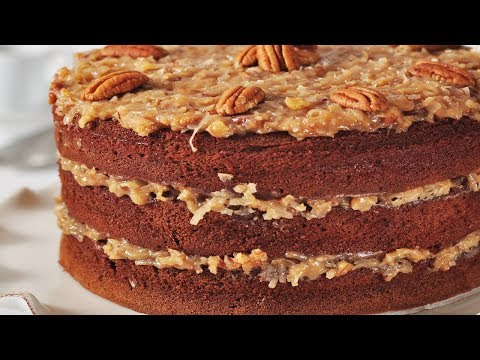 German Chocolate Cake Recipe Demonstration Joyofbakingcom YouTube