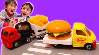 はたらくくるま トミカのトヨタタウンエース ハンバーガーカーといすず...