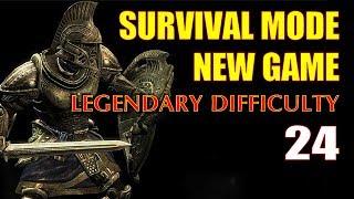 Skyrim SURVIVAL MODE Walkthrough Legendary #24 - Lost My Horse! (Stranded on the Tundra...)