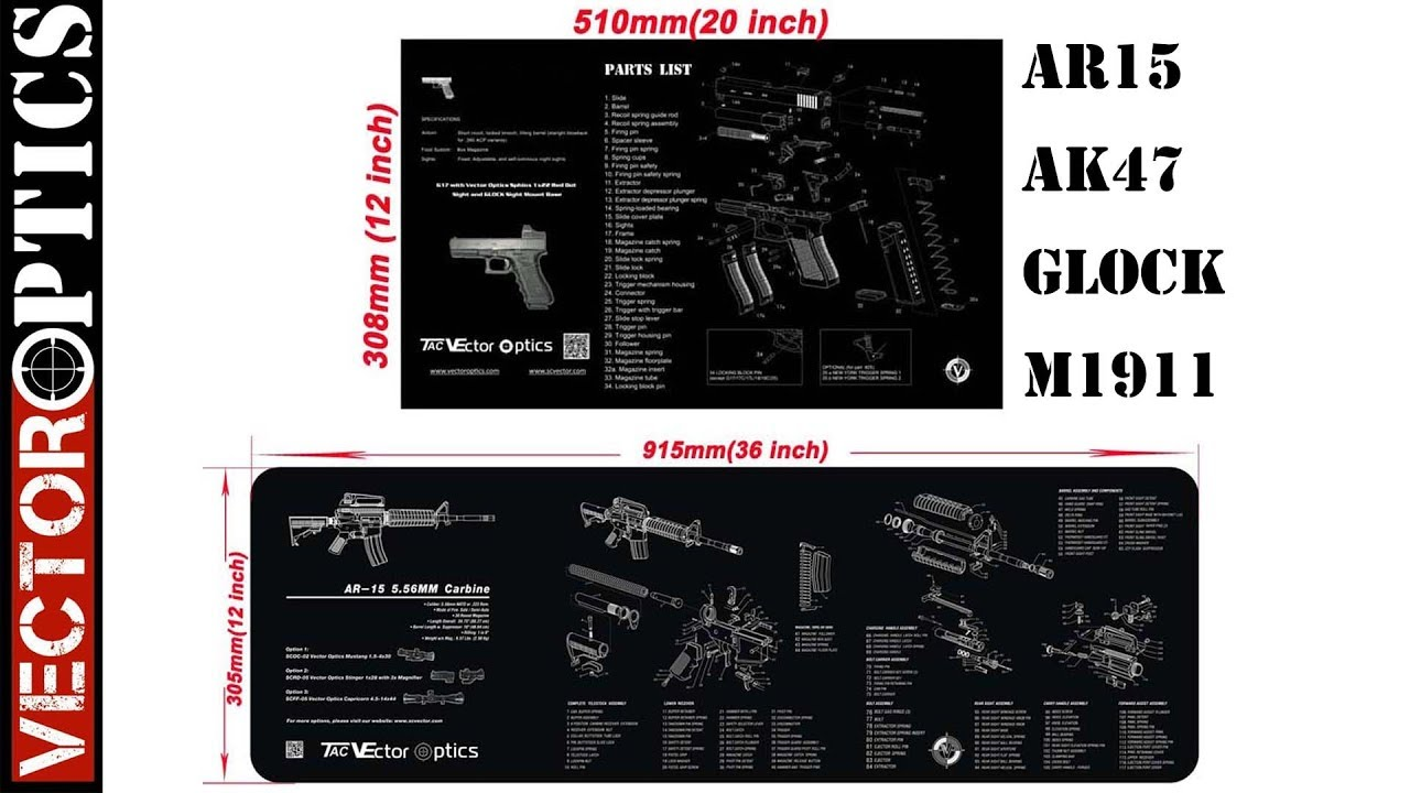 gunsmisth partner firearm ar15 ak47 glock m1911 pistol gun cleaning mats with diagram [ 1280 x 720 Pixel ]