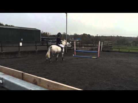 Hannah Wanbon C team showjumping round at Keele University.