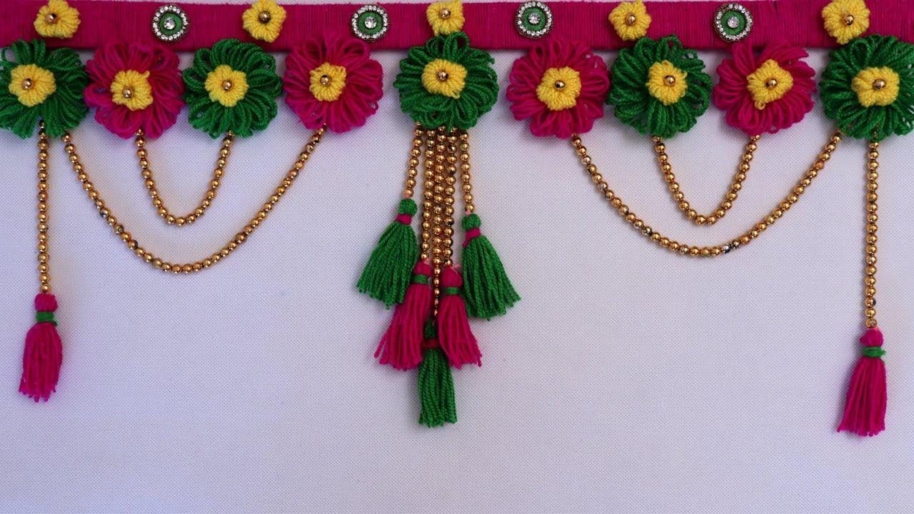 Beautiful Woolen Flowers Door Hanging Toran    Woolen Handmade Toran    DIY  Wool Toran