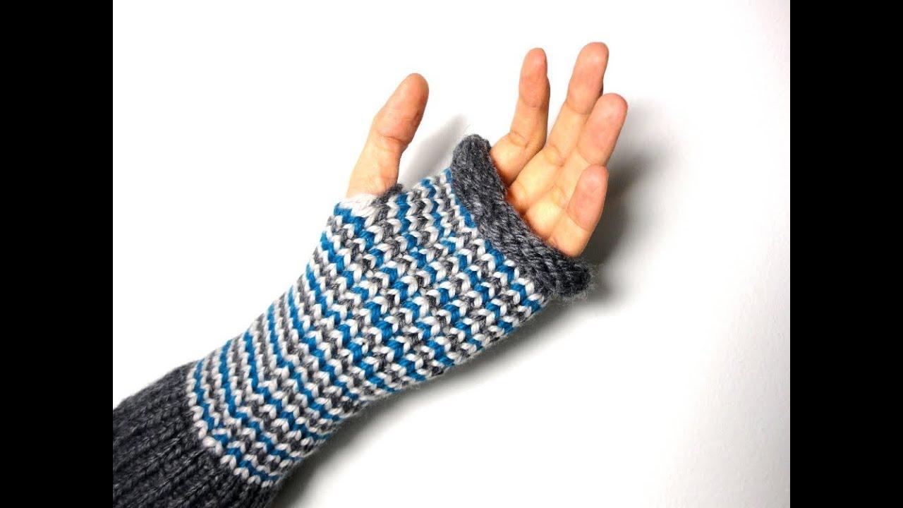 Cómo hacer mitones (guantes sin dedos) con telar circular - YouTube