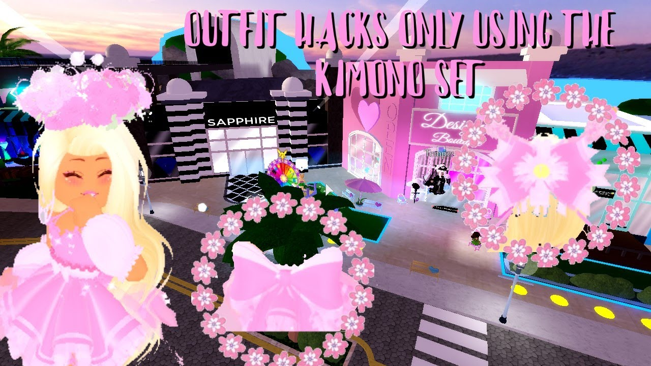 Outfit Hacks Only Using The Kimono Set Roblox Royale High Youtube