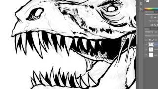 Walking With Dead Dinosaurs Inking Demo by Patrick Scullin