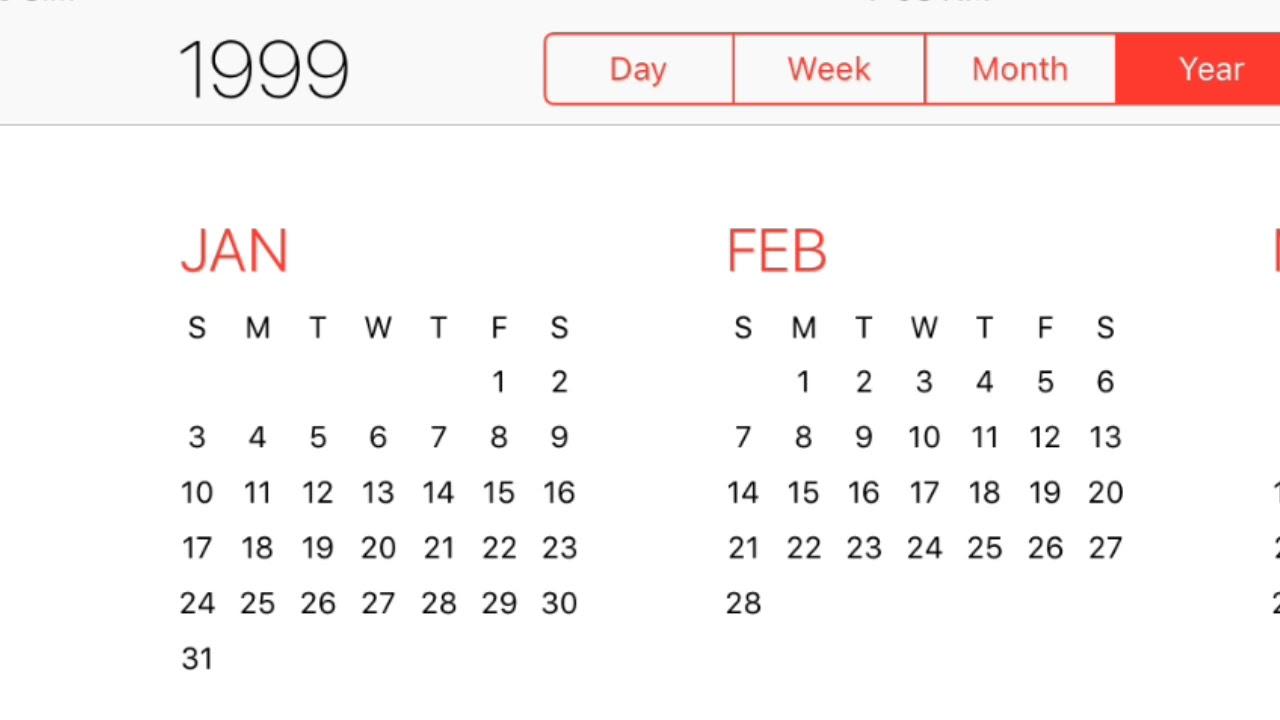 1999 Calendar Youtube