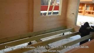 Дом из Двойного бруса. Монтаж фронтонов. Обзор дома изнутри, интегрированные балки перекрытия