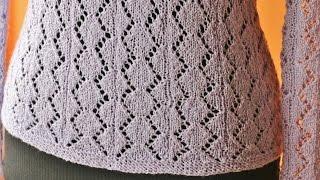 Wzór na bluzkę efektowny ażurowy na drutach