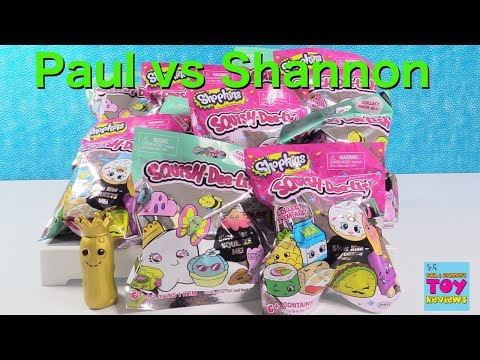 Paul vs Shannon Squish Dee-Lish Shopkins Squishies Series 2 Toy Review | PSToyReviews