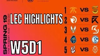 LEC Highlights ALL GAMES Week 5 Day 1 Spring 2019 League of Legends European Championship