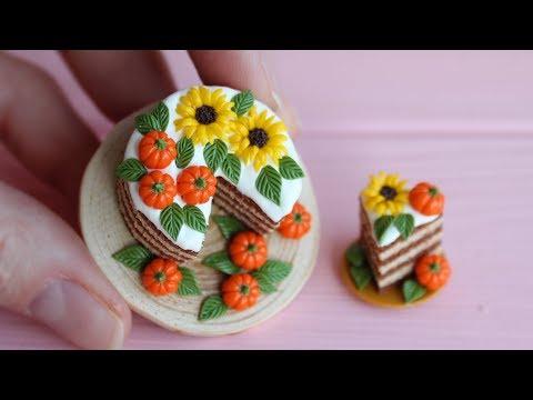 Miniature cake with pumpkins. 1:12 scale. Polymer clay. Tutorial. DIY. Миниатюрный торт с тыквами.
