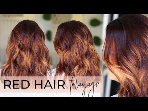 Red Hair Balayage - How to do a Foilayage while Covering Gray on a Redhead (easy tutorial!)