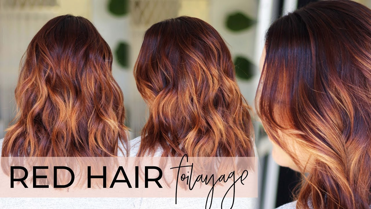 Red Hair Balayage How To Do A Foilayage While Covering Gray On A Redhead Easy Tutorial Youtube