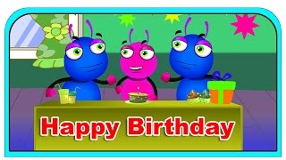 Happy Birthday Song lyrics | Cute Colorful Cartoons Animated Greetings |