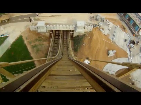 Wooden Roller Coaster POV Hotgo Park Fushun, China 热高乐园 - New Woodie 2014 木质过山车
