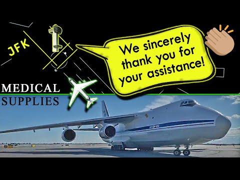 Antonov AN-124 LANDING AT KENNEDY FULL OF MEDICAL SUPPLIES!