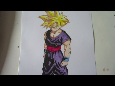 How to draw super saiyan Gohan 孫 悟飯 超サイヤ人
