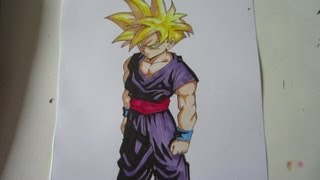 How to draw super saiyan Gohan 孫 悟飯 超サイヤ人
