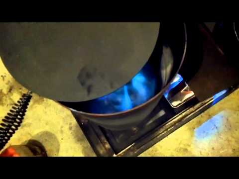 Home made waste oil heater start up