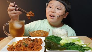 쌈밥 먹방 |우렁강된장과 제육볶음 | 양배추,호박잎,깻잎,다시마쌈 | 집밥먹방 | koreanfood | asmr먹방 |ASMR MUKBANG | EATING SHOW
