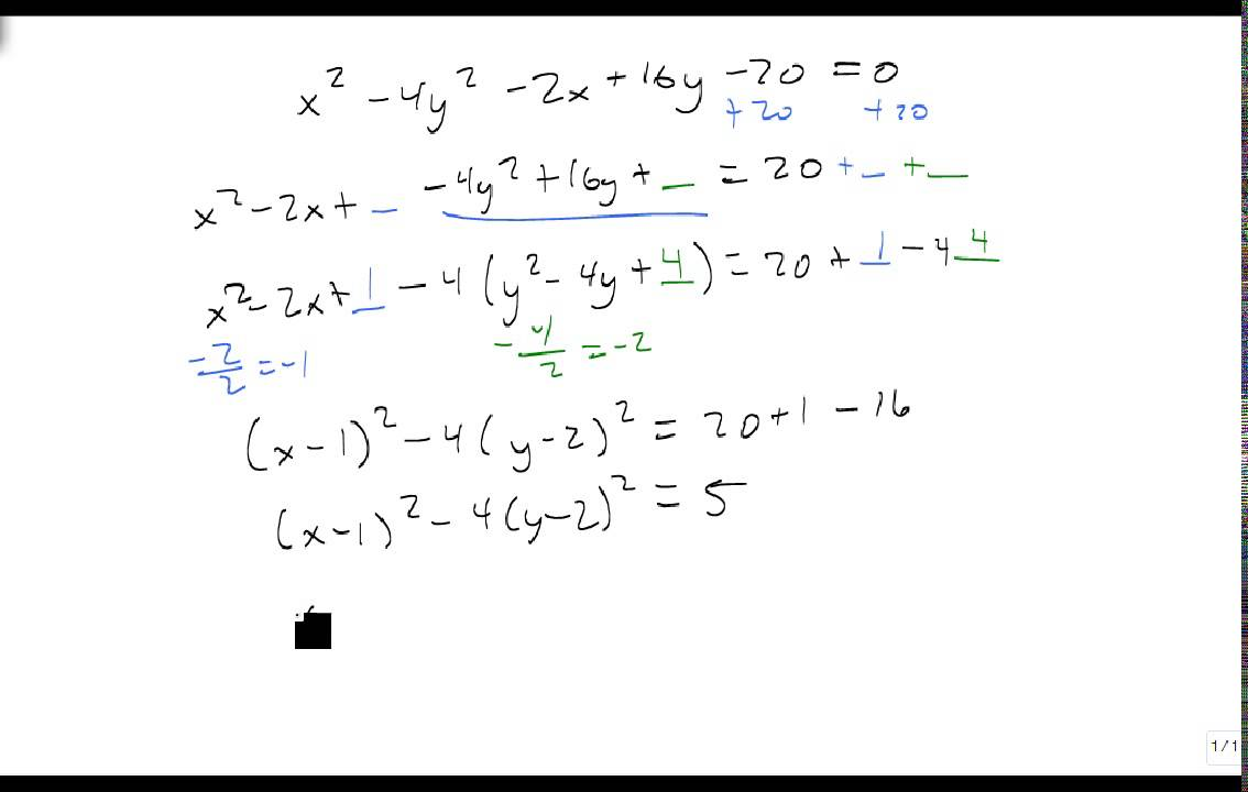 Convert from general form to standard form of a hyperbola - YouTube