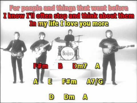 in my life Beatles best karaoke instrumental lyrics chords