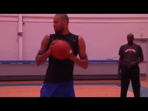 Hakeem Olajuwon & Tyson Chandler Working on Post Moves 2012
