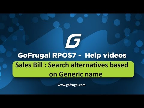 GoFrugal RPOS7 - Sales : Search for alternatives based on Generic category