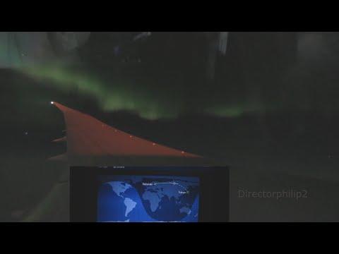 Northern Lights Timelapse on board flight dreamliner 787 Japan Airlines 414 Helsinki - Narita