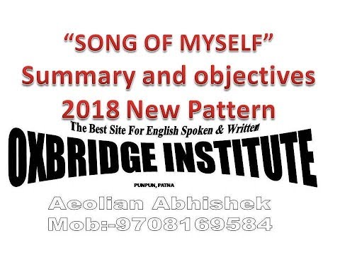 SONG OF MYSELF summary & objectives